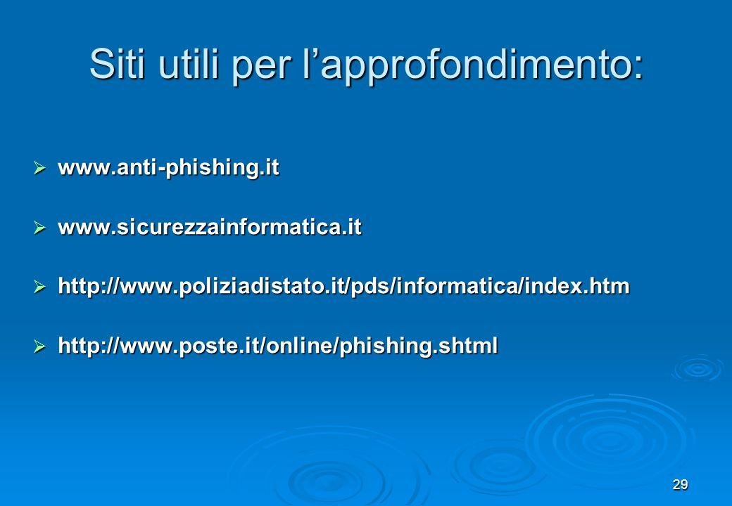 29 Siti utili per lapprofondimento: www.anti-phishing.it www.anti-phishing.it www.sicurezzainformatica.it www.sicurezzainformatica.it http://www.poliz