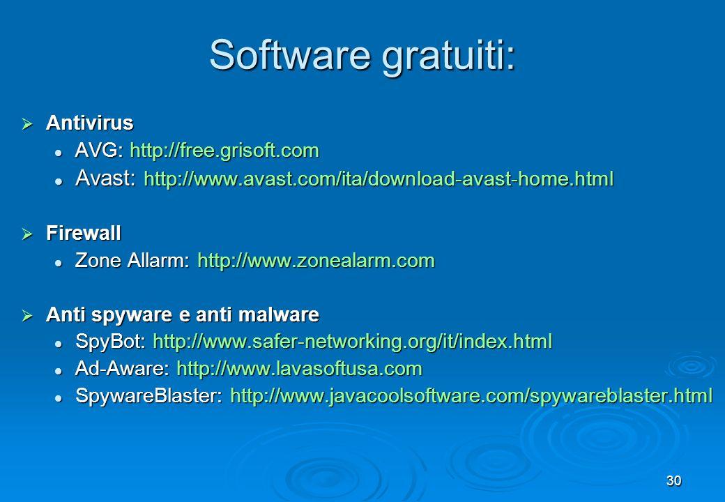 30 Antivirus Antivirus AVG: http://free.grisoft.com AVG: http://free.grisoft.com Avast: http://www.avast.com/ita/download-avast-home.html Avast: http: