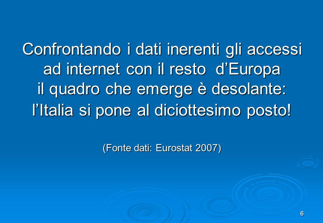 6 Confrontando i dati inerenti gli accessi ad internet con il resto dEuropa il quadro che emerge è desolante: lItalia si pone al diciottesimo posto! (