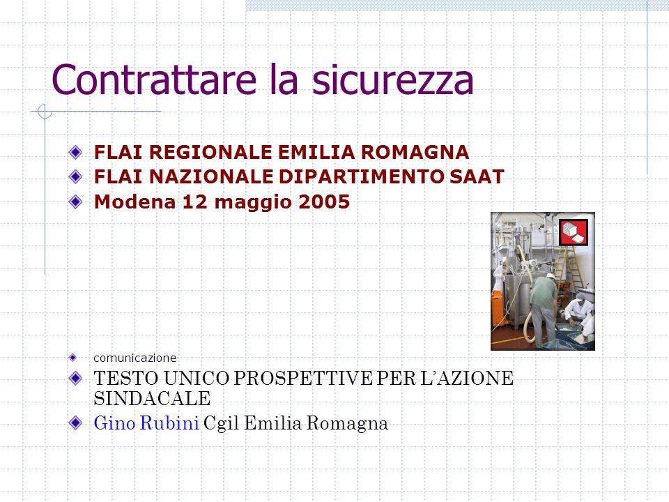 Contrattare la sicurezza FLAI REGIONALE EMILIA ROMAGNA FLAI NAZIONALE DIPARTIMENTO SAAT Modena 12 maggio 2005 comunicazione TESTO UNICO PROSPETTIVE PE
