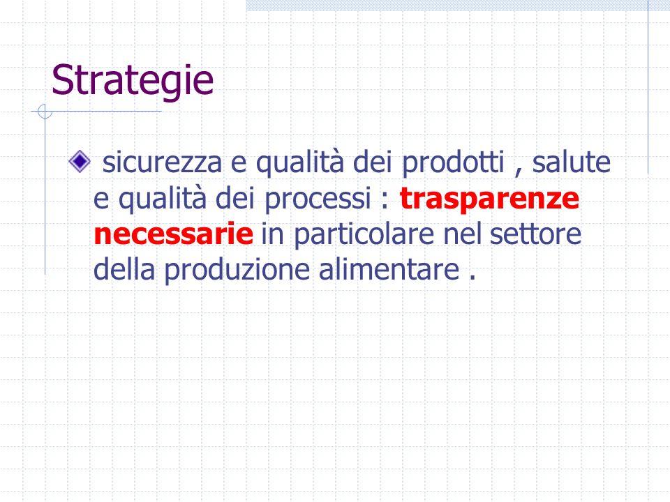 Strategie sicurezza e qualità dei prodotti, salute e qualità dei processi : trasparenze necessarie in particolare nel settore della produzione aliment