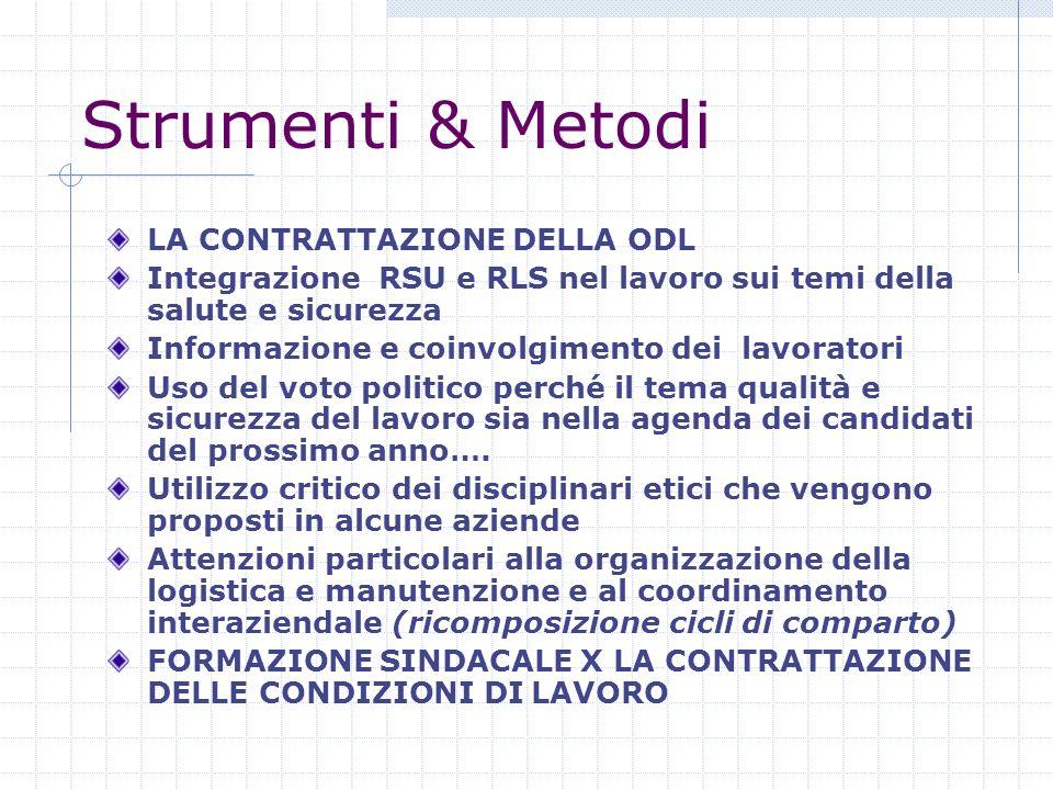 Strumenti & Metodi LA CONTRATTAZIONE DELLA ODL Integrazione RSU e RLS nel lavoro sui temi della salute e sicurezza Informazione e coinvolgimento dei l