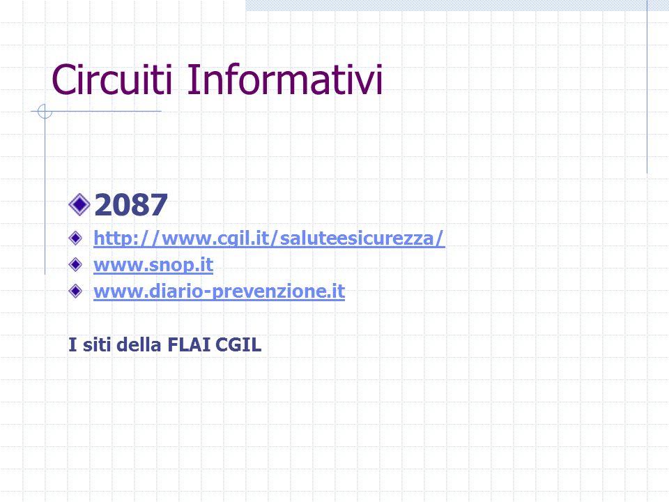 Circuiti Informativi 2087 http://www.cgil.it/saluteesicurezza/ www.snop.it www.diario-prevenzione.it I siti della FLAI CGIL