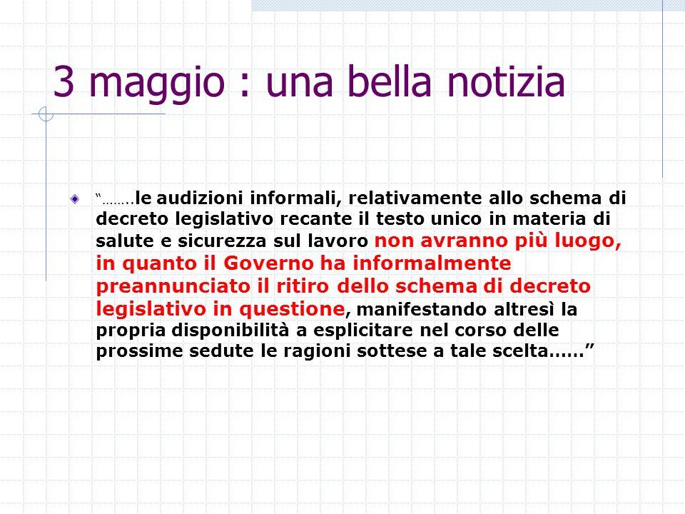 3 maggio : una bella notizia …….. le audizioni informali, relativamente allo schema di decreto legislativo recante il testo unico in materia di salute