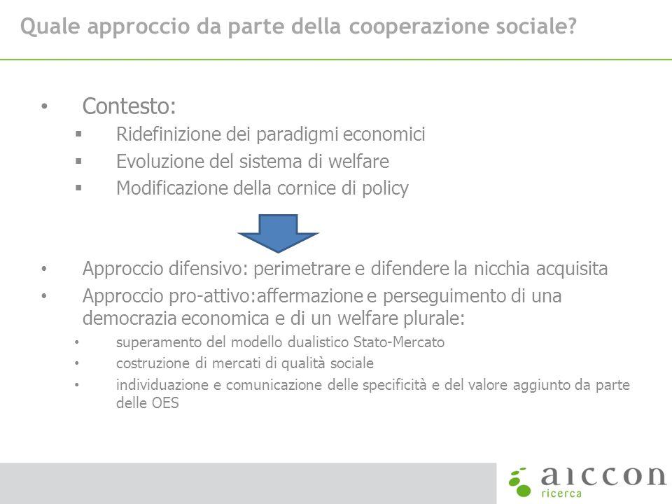 Quale approccio da parte della cooperazione sociale? Contesto: Ridefinizione dei paradigmi economici Evoluzione del sistema di welfare Modificazione d