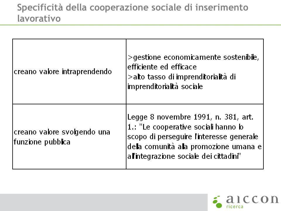 Specificità della cooperazione sociale di inserimento lavorativo