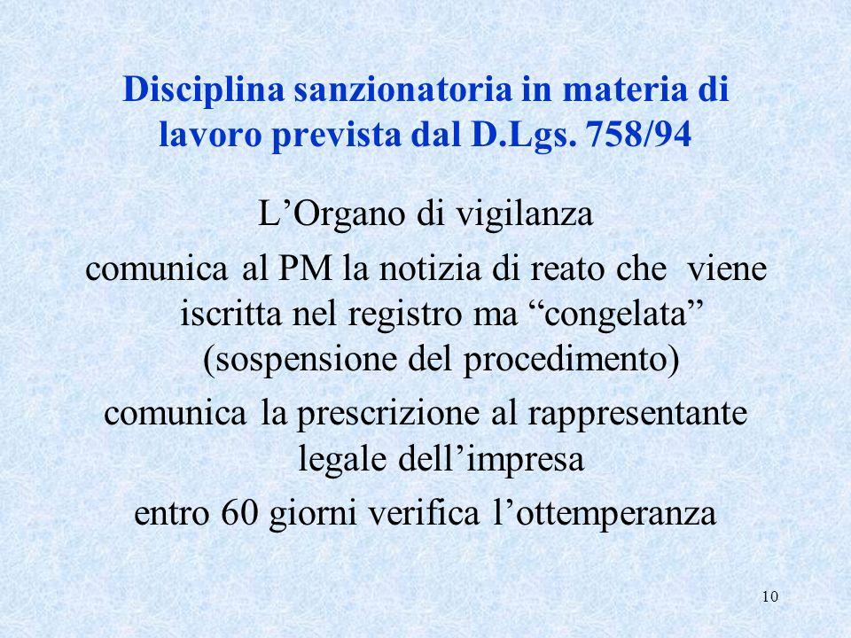 10 Disciplina sanzionatoria in materia di lavoro prevista dal D.Lgs. 758/94 LOrgano di vigilanza comunica al PM la notizia di reato che viene iscritta