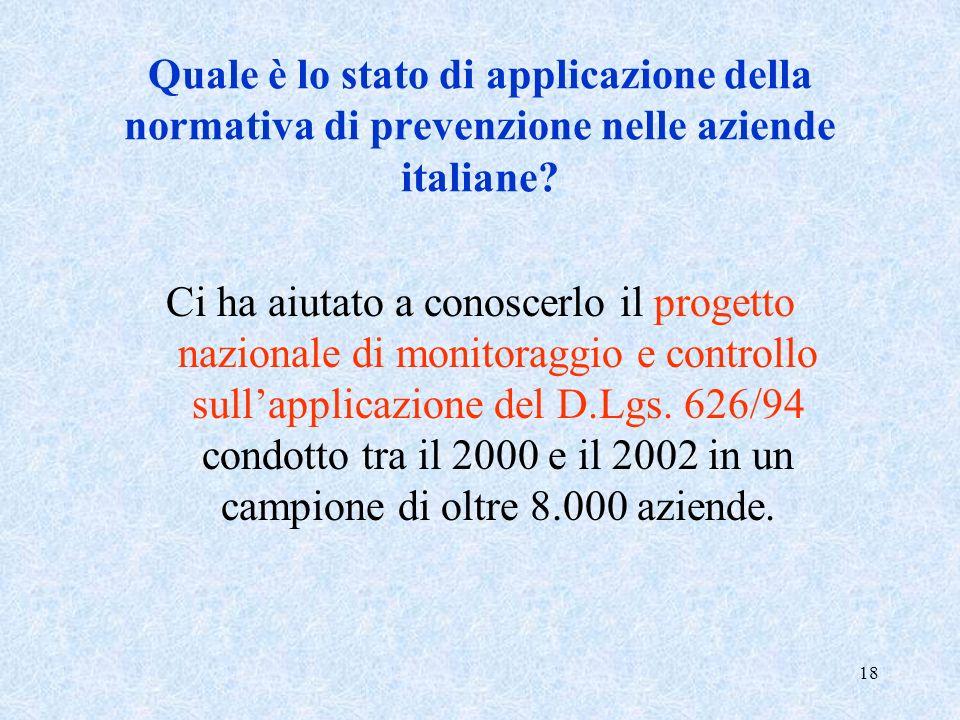18 Quale è lo stato di applicazione della normativa di prevenzione nelle aziende italiane? Ci ha aiutato a conoscerlo il progetto nazionale di monitor