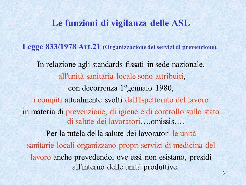 3 Le funzioni di vigilanza delle ASL Legge 833/1978 Art.21 (Organizzazione dei servizi di prevenzione). In relazione agli standards fissati in sede na