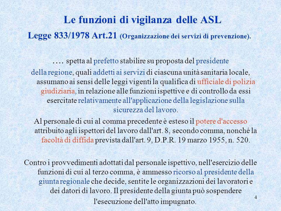 4 Le funzioni di vigilanza delle ASL Legge 833/1978 Art.21 (Organizzazione dei servizi di prevenzione). …. spetta al prefetto stabilire su proposta de