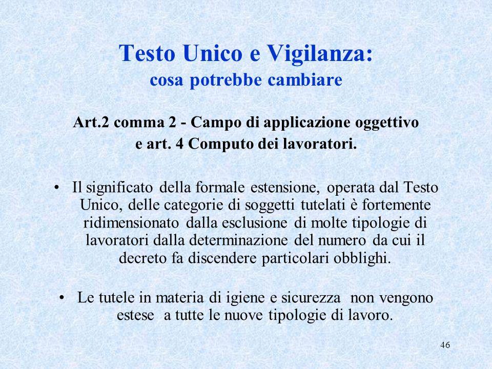 46 Testo Unico e Vigilanza: cosa potrebbe cambiare Art.2 comma 2 - Campo di applicazione oggettivo e art. 4 Computo dei lavoratori. Il significato del