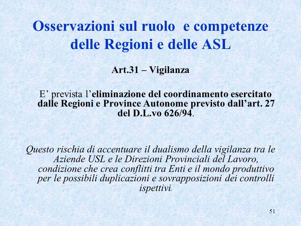 51 Osservazioni sul ruolo e competenze delle Regioni e delle ASL Art.31 – Vigilanza E prevista leliminazione del coordinamento esercitato dalle Region