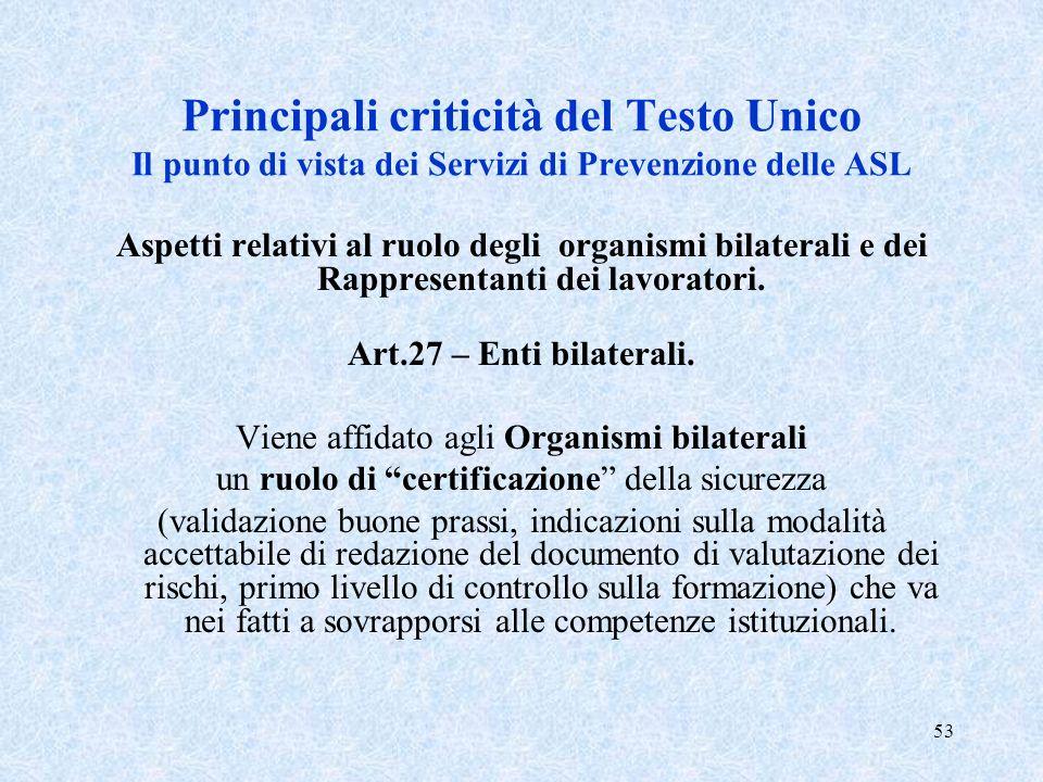 53 Principali criticità del Testo Unico Il punto di vista dei Servizi di Prevenzione delle ASL Aspetti relativi al ruolo degli organismi bilaterali e