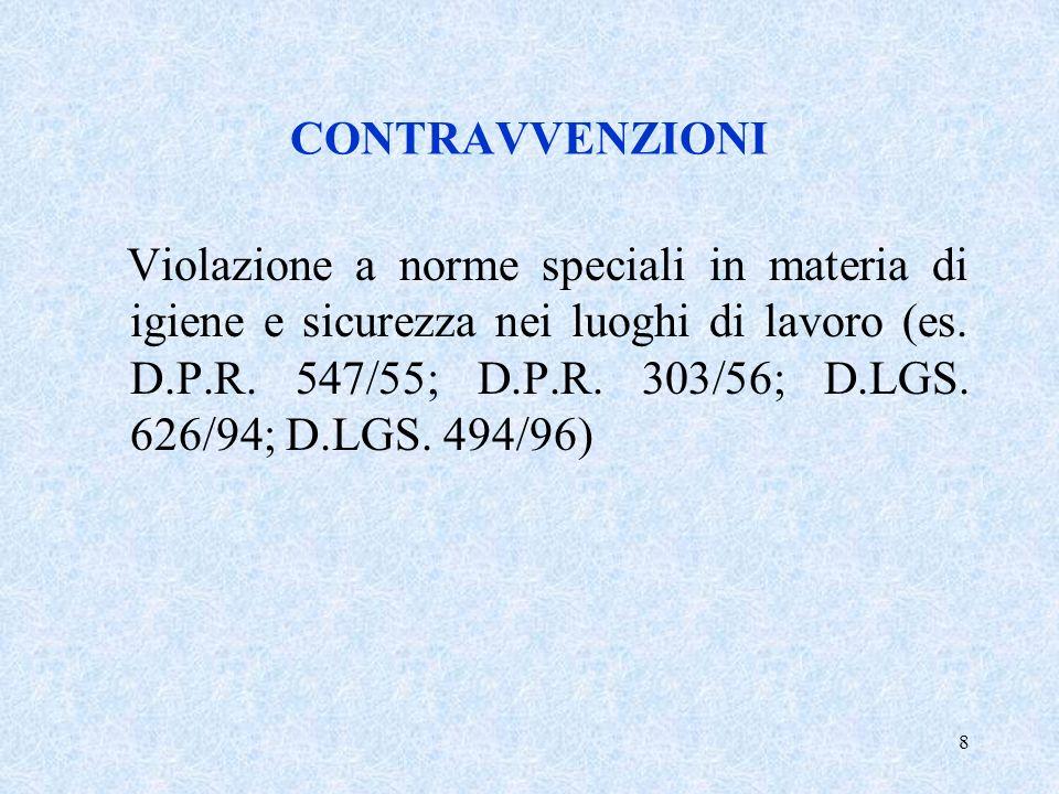 8 CONTRAVVENZIONI Violazione a norme speciali in materia di igiene e sicurezza nei luoghi di lavoro (es. D.P.R. 547/55; D.P.R. 303/56; D.LGS. 626/94;