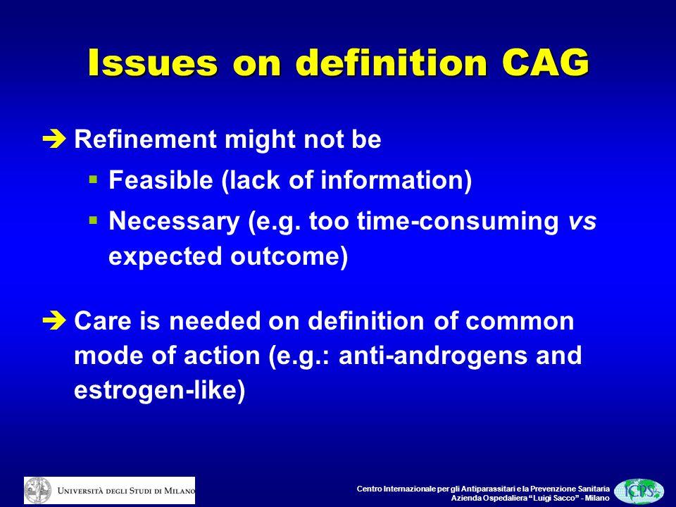 Centro Internazionale per gli Antiparassitari e la Prevenzione Sanitaria Azienda Ospedaliera Luigi Sacco - Milano Issues on definition CAG Refinement might not be Feasible (lack of information) Necessary (e.g.