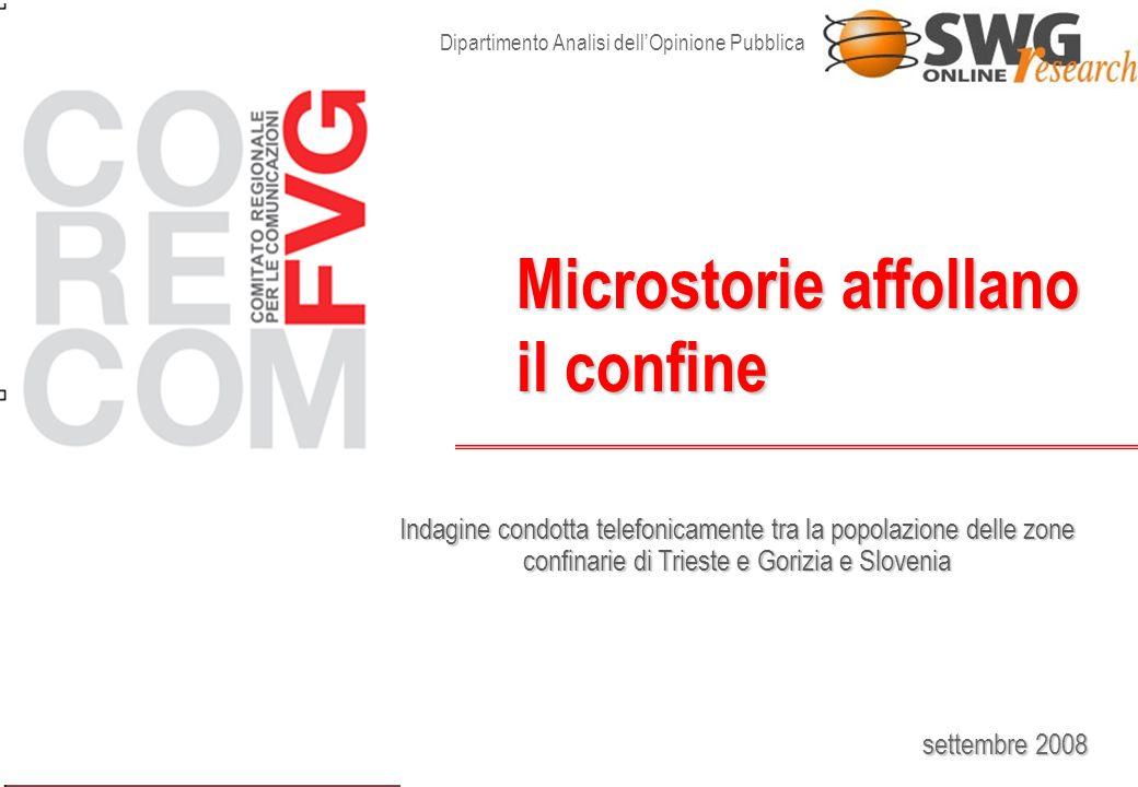 settembre 2008 Microstorie affollano il confine Dipartimento Analisi dellOpinione Pubblica Indagine condotta telefonicamente tra la popolazione delle zone confinarie di Trieste e Gorizia e Slovenia