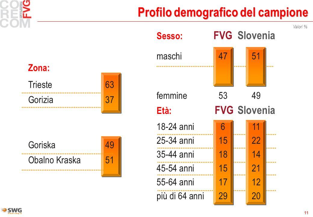 11 Età: FVGSlovenia 18-24 anni611 25-34 anni1522 35-44 anni1814 45-54 anni1521 55-64 anni1712 più di 64 anni2920 Profilo demografico del campione Sesso: FVGSlovenia maschi4751 femmine5349 Valori % Zona: Trieste63 Gorizia37 Goriska49 Obalno Kraska51