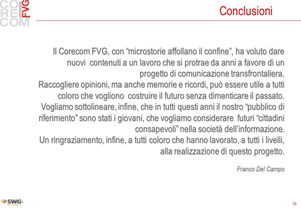 31 Conclusioni Valori % Il Corecom FVG, con microstorie affollano il confine, ha voluto dare nuovi contenuti a un lavoro che si protrae da anni a favore di un progetto di comunicazione transfrontaliera.