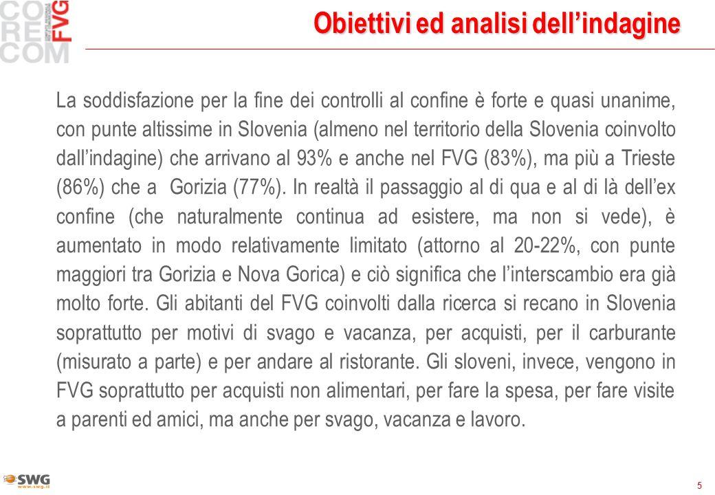 5 Obiettivi ed analisi dellindagine La soddisfazione per la fine dei controlli al confine è forte e quasi unanime, con punte altissime in Slovenia (almeno nel territorio della Slovenia coinvolto dallindagine) che arrivano al 93% e anche nel FVG (83%), ma più a Trieste (86%) che a Gorizia (77%).