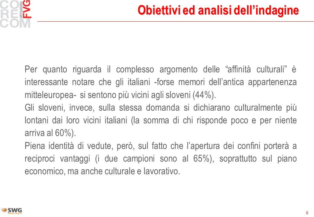 6 Obiettivi ed analisi dellindagine Per quanto riguarda il complesso argomento delle affinità culturali è interessante notare che gli italiani -forse memori dellantica appartenenza mitteleuropea- si sentono più vicini agli sloveni (44%).
