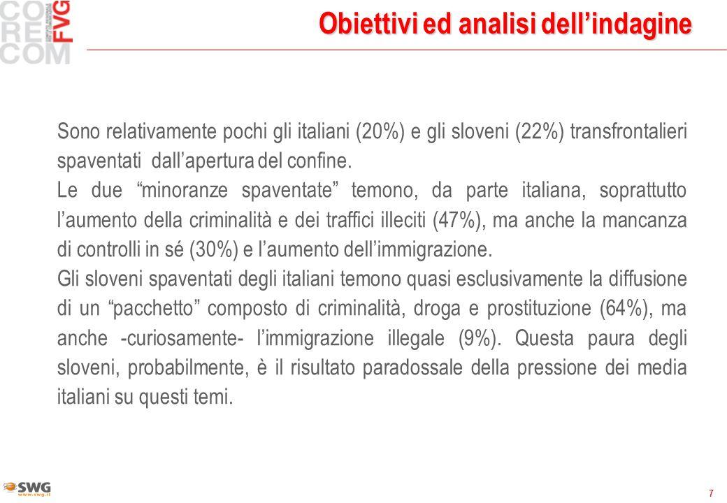 7 Obiettivi ed analisi dellindagine Sono relativamente pochi gli italiani (20%) e gli sloveni (22%) transfrontalieri spaventati dallapertura del confine.