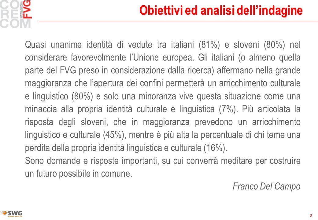 8 Obiettivi ed analisi dellindagine Quasi unanime identità di vedute tra italiani (81%) e sloveni (80%) nel considerare favorevolmente lUnione europea.