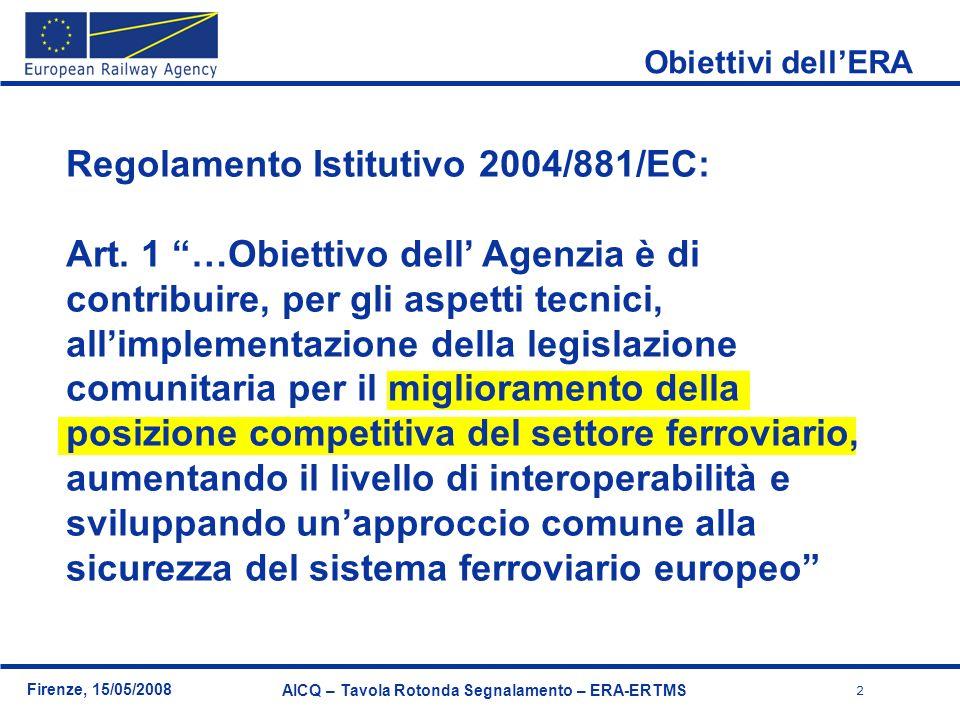 2 Firenze, 15/05/2008 AICQ – Tavola Rotonda Segnalamento – ERA-ERTMS Regolamento Istitutivo 2004/881/EC: Art. 1 …Obiettivo dell Agenzia è di contribui