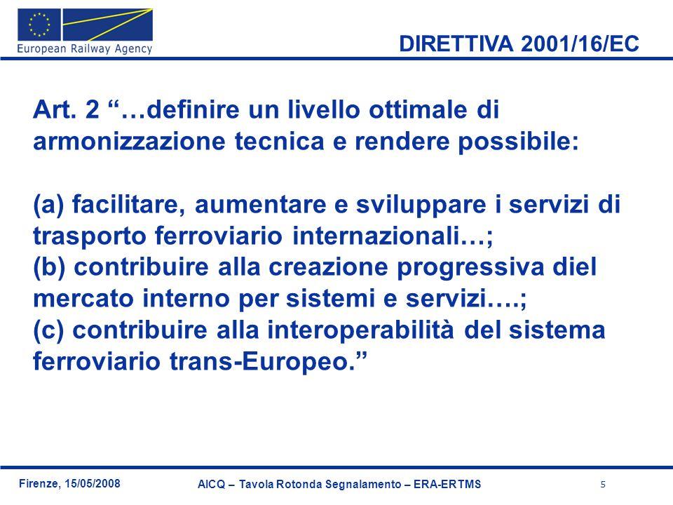 6 Firenze, 15/05/2008 AICQ – Tavola Rotonda Segnalamento – ERA-ERTMS Directives (EC) TSIs (Agency) EN standards (CEN, CENELEC, ETSI) National Standards Le Direttive di Interoperabilità Ferroviaria sono direttive « new approach ».