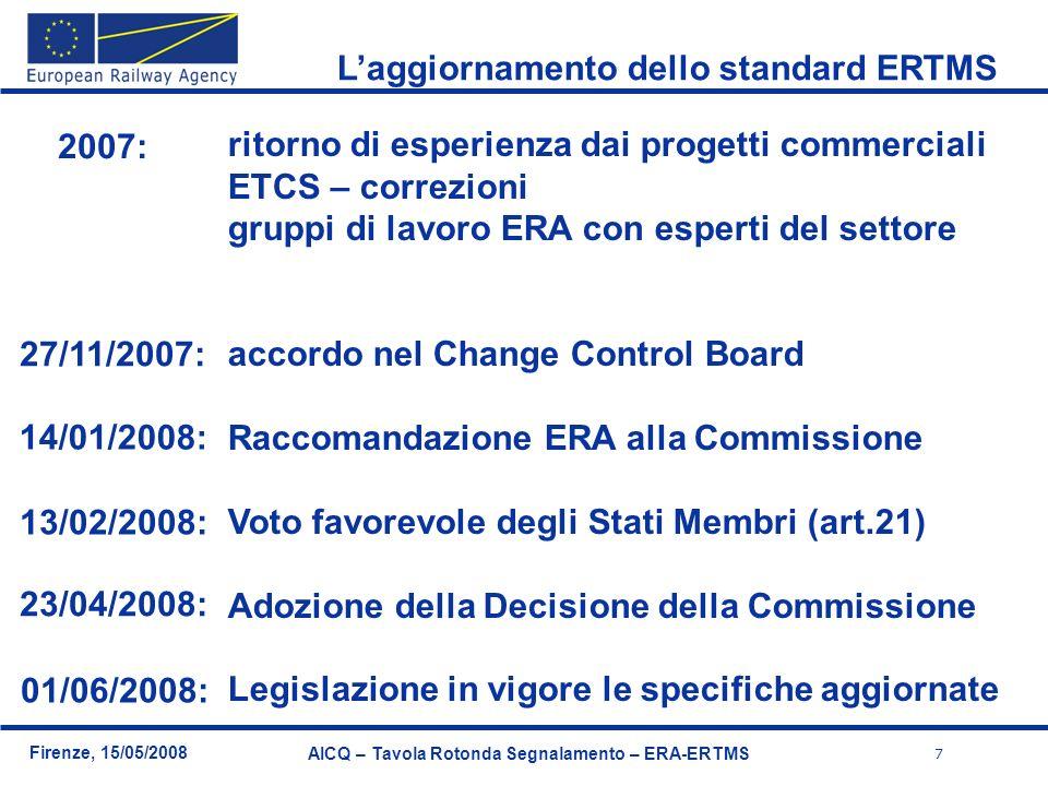 7 Firenze, 15/05/2008 AICQ – Tavola Rotonda Segnalamento – ERA-ERTMS Laggiornamento dello standard ERTMS ritorno di esperienza dai progetti commercial