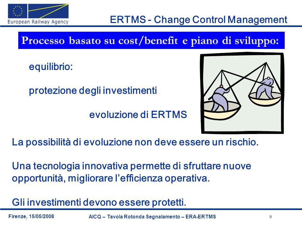 9 Firenze, 15/05/2008 AICQ – Tavola Rotonda Segnalamento – ERA-ERTMS ERTMS - Change Control Management equilibrio: protezione degli investimenti evolu