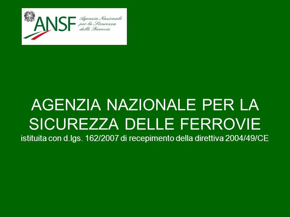 AGENZIA NAZIONALE PER LA SICUREZZA DELLE FERROVIE istituita con d.lgs. 162/2007 di recepimento della direttiva 2004/49/CE