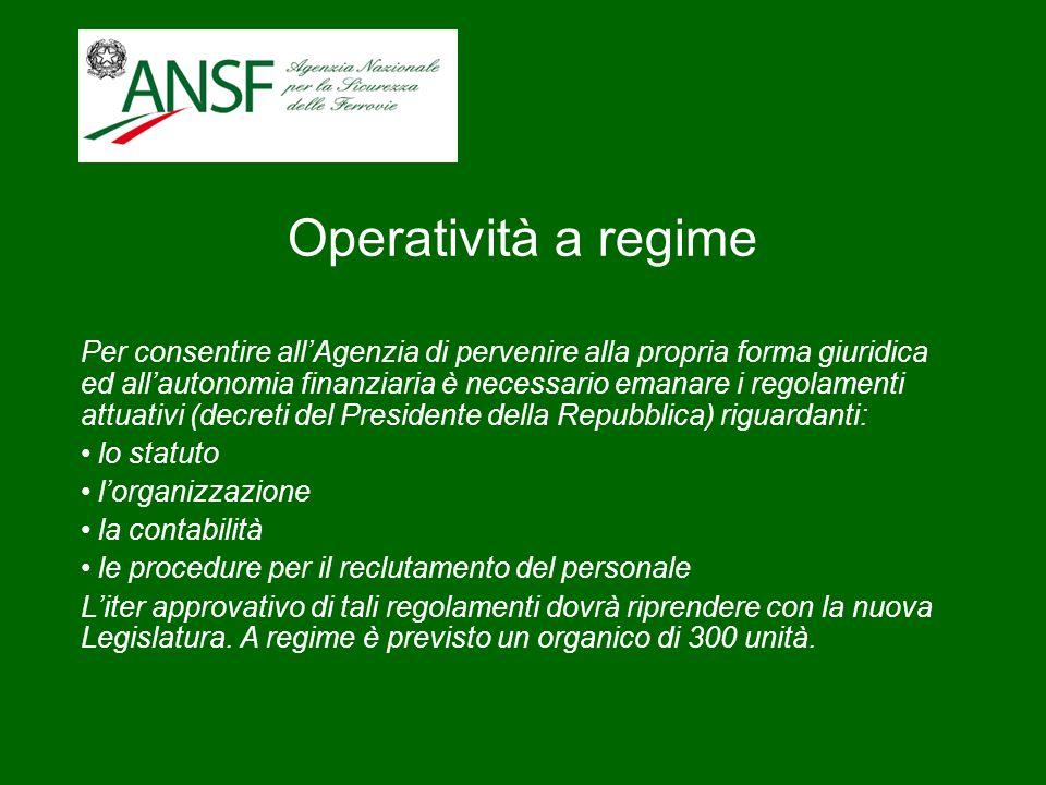 Operatività a regime Per consentire allAgenzia di pervenire alla propria forma giuridica ed allautonomia finanziaria è necessario emanare i regolament
