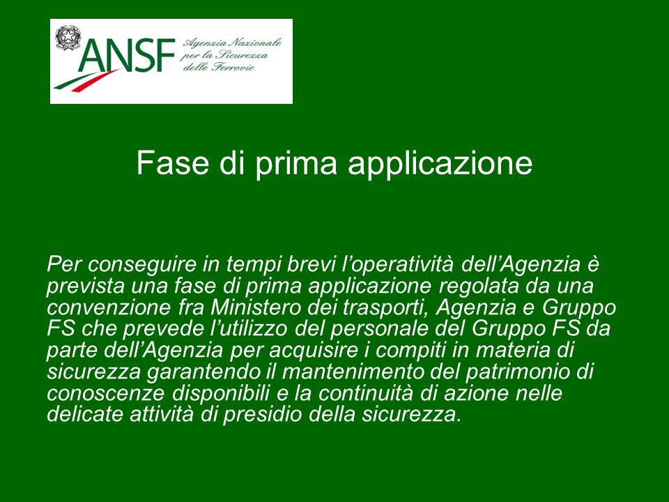 Fase di prima applicazione Per conseguire in tempi brevi loperatività dellAgenzia è prevista una fase di prima applicazione regolata da una convenzion