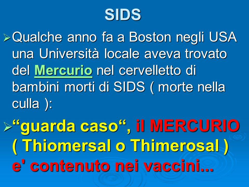 SIDS Qualche anno fa a Boston negli USA una Università locale aveva trovato del Mercurio nel cervelletto di bambini morti di SIDS ( morte nella culla
