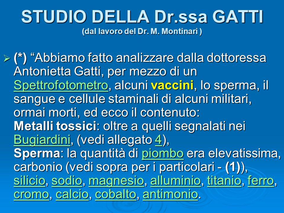 STUDIO DELLA Dr.ssa GATTI (dal lavoro del Dr. M. Montinari ) (*) Abbiamo fatto analizzare dalla dottoressa Antonietta Gatti, per mezzo di un Spettrofo