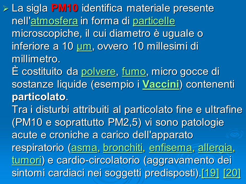 La sigla PM10 identifica materiale presente nell'atmosfera in forma di particelle microscopiche, il cui diametro è uguale o inferiore a 10 µm, ovvero