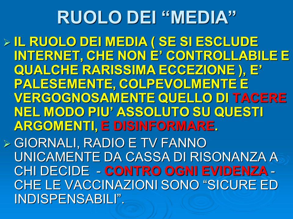 RUOLO DEI MEDIA IL RUOLO DEI MEDIA ( SE SI ESCLUDE INTERNET, CHE NON E CONTROLLABILE E QUALCHE RARISSIMA ECCEZIONE ), E PALESEMENTE, COLPEVOLMENTE E V