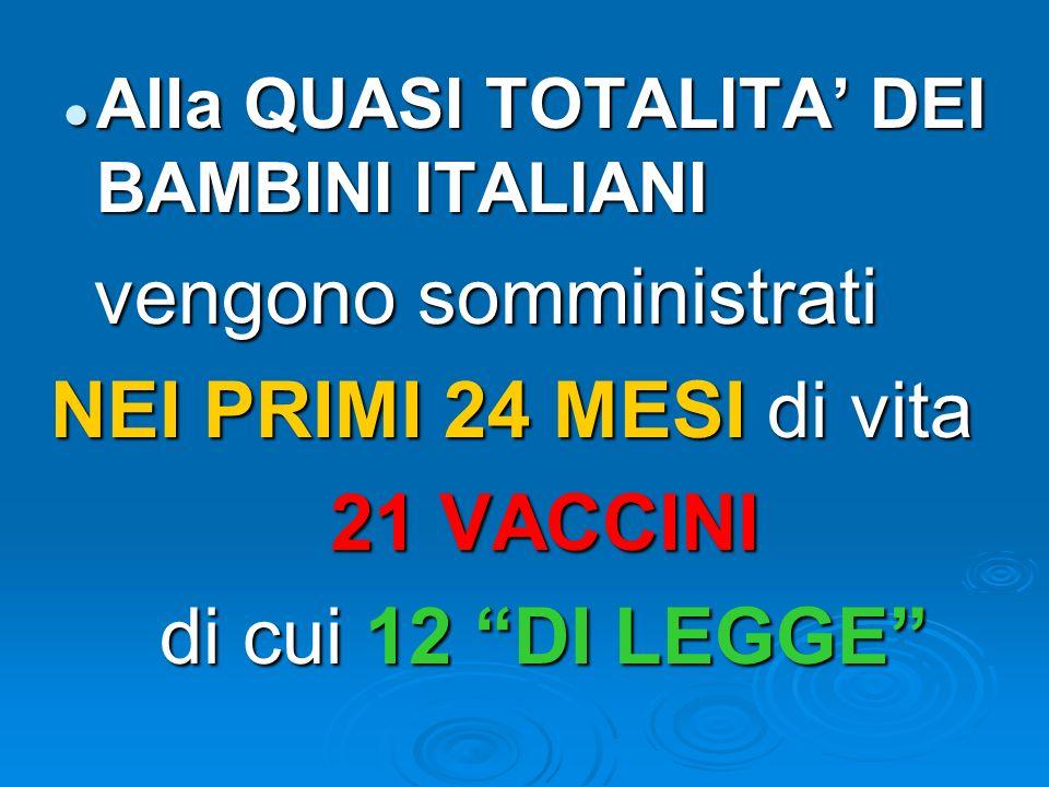 Alla QUASI TOTALITA DEI BAMBINI ITALIANI Alla QUASI TOTALITA DEI BAMBINI ITALIANI vengono somministrati vengono somministrati NEI PRIMI 24 MESI di vit