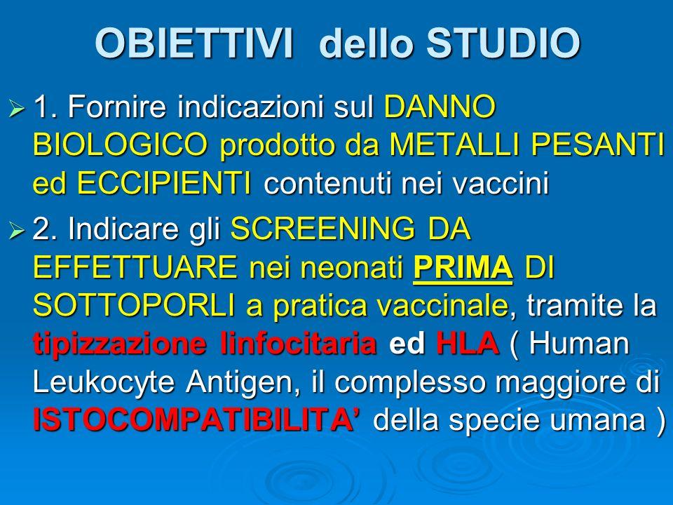 OBIETTIVI dello STUDIO 1. Fornire indicazioni sul DANNO BIOLOGICO prodotto da METALLI PESANTI ed ECCIPIENTI contenuti nei vaccini 1. Fornire indicazio