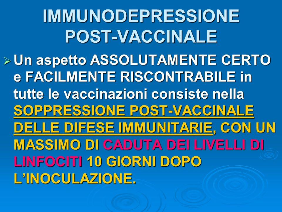 IMMUNODEPRESSIONE POST-VACCINALE Un aspetto ASSOLUTAMENTE CERTO e FACILMENTE RISCONTRABILE in tutte le vaccinazioni consiste nella SOPPRESSIONE POST-V