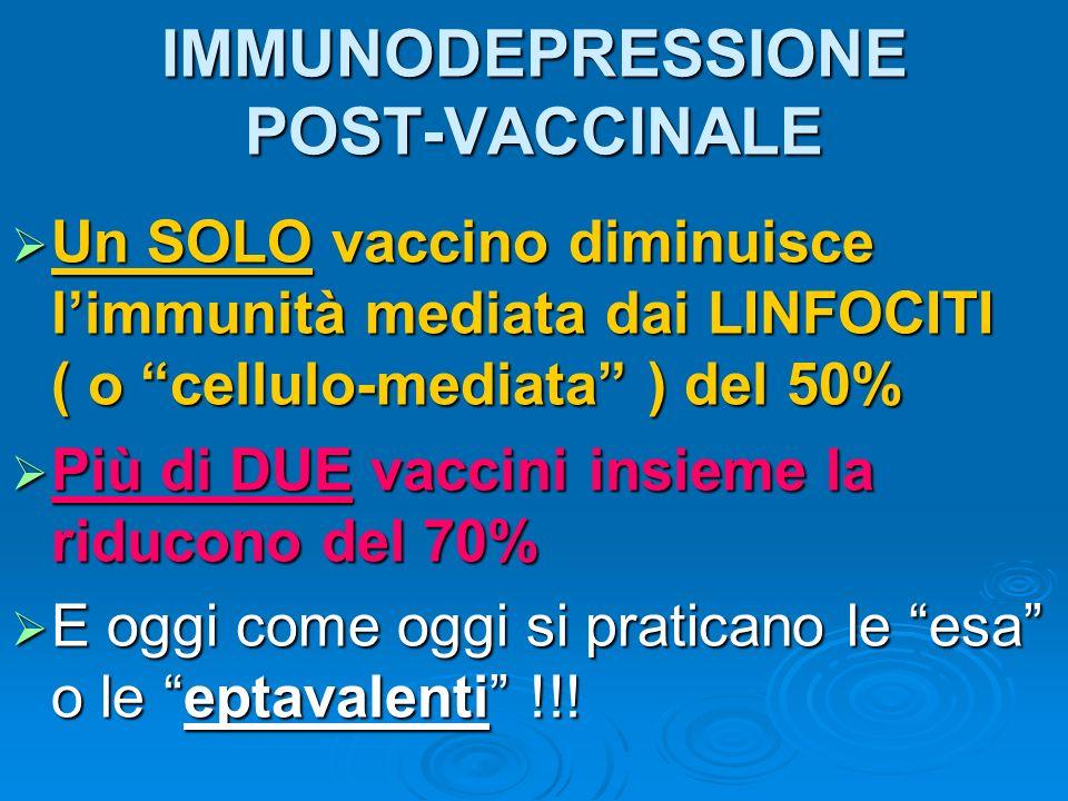 IMMUNODEPRESSIONE POST-VACCINALE Un SOLO vaccino diminuisce limmunità mediata dai LINFOCITI ( o cellulo-mediata ) del 50% Un SOLO vaccino diminuisce l