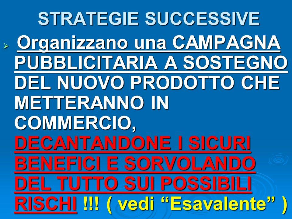 STRATEGIE SUCCESSIVE Organizzano una CAMPAGNA PUBBLICITARIA A SOSTEGNO DEL NUOVO PRODOTTO CHE METTERANNO IN COMMERCIO, DECANTANDONE I SICURI BENEFICI