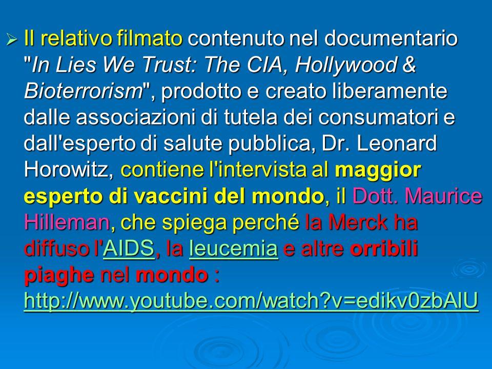 Il relativo filmato contenuto nel documentario