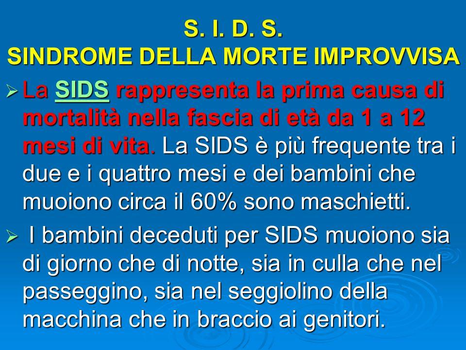 S. I. D. S. SINDROME DELLA MORTE IMPROVVISA La SIDS rappresenta la prima causa di mortalità nella fascia di età da 1 a 12 mesi di vita. La SIDS è più