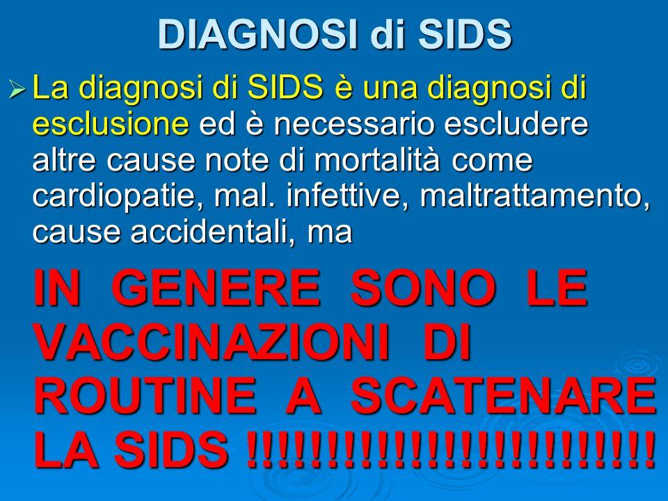 DIAGNOSI di SIDS La diagnosi di SIDS è una diagnosi di esclusione ed è necessario escludere altre cause note di mortalità come cardiopatie, mal. infet