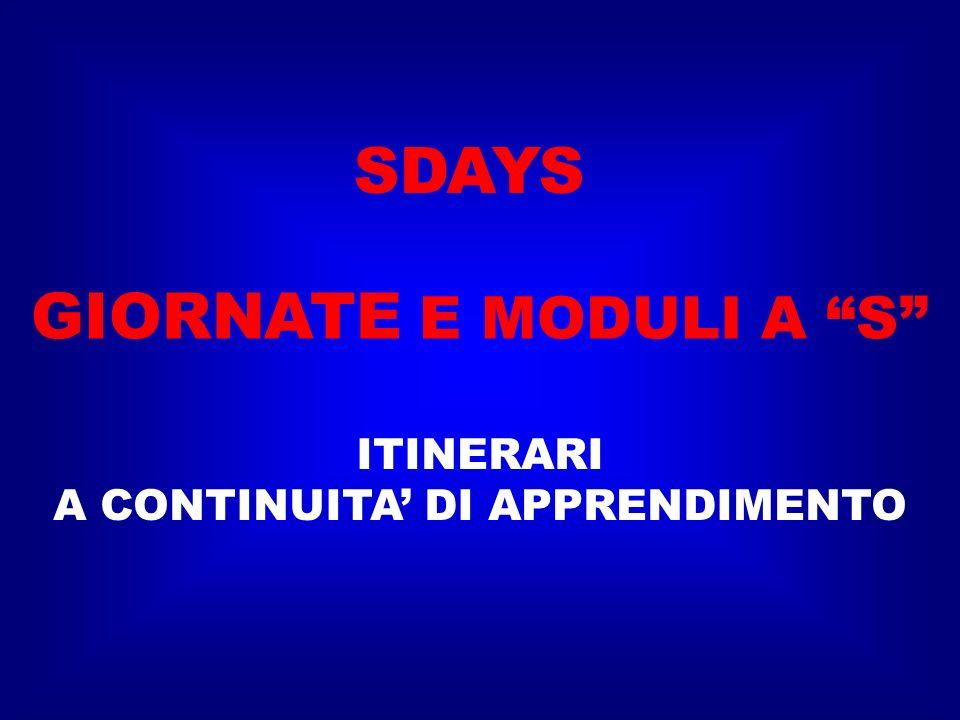 SDAYS ITINERARI A CONTINUITA DI APPRENDIMENTO GIORNATE E MODULI A S
