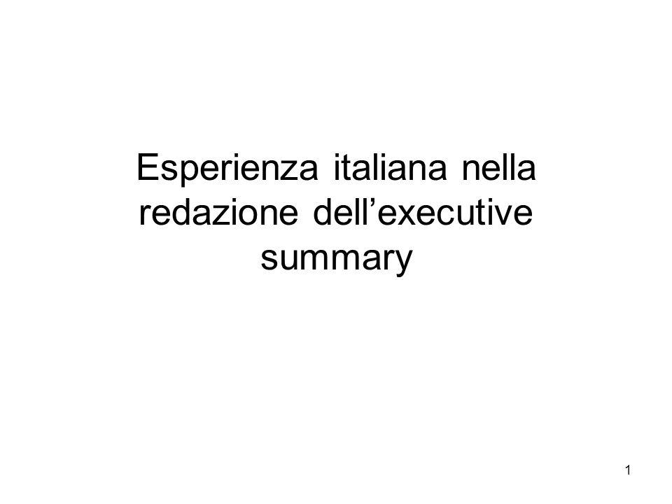 1 Esperienza italiana nella redazione dellexecutive summary
