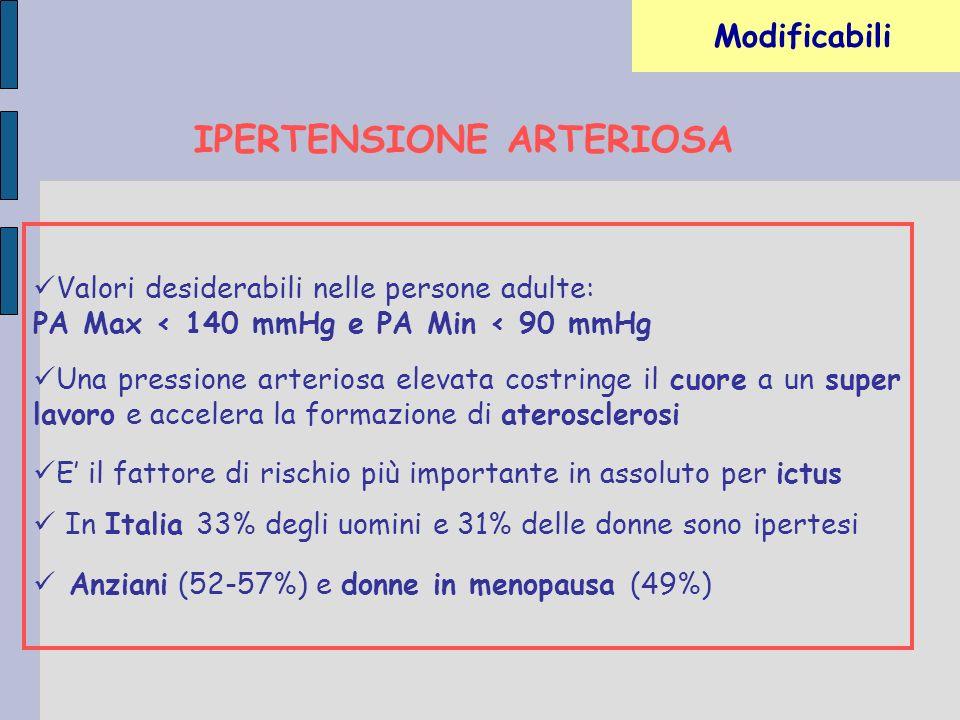 ALTERAZIONI LIPIDICHE NEL SANGUE Valori desiderabili: Colesterolo totale < 200 mg/dl Colesterolo LDL < 160 mg/dl Colesterolo HDL > 40 mg/dl per i maschi e > 50 mg/dl per le donne TG < 150 mg/dl Valori borderline Colesterolo totale 200 – 239 mg/dl TG 150 – 199 mg/dl In presenza di 2 o più fattori di rischio Colesterolo LDL < 130 mg/dl