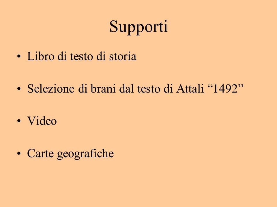Supporti Libro di testo di storia Selezione di brani dal testo di Attali 1492 Video Carte geografiche