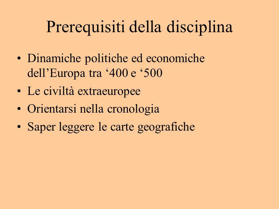 Prerequisiti della disciplina Dinamiche politiche ed economiche dellEuropa tra 400 e 500 Le civiltà extraeuropee Orientarsi nella cronologia Saper leg